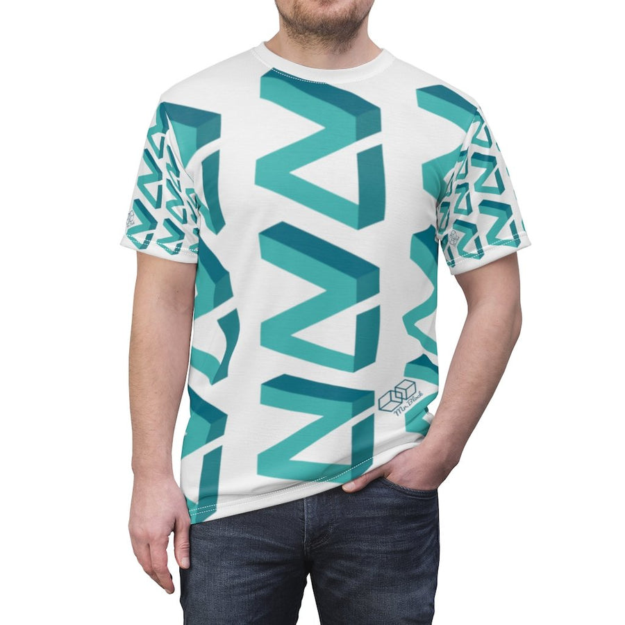 Zilliqa Scattered Logo (ZIL)- Unisex AOP Cut & Sew Tee - Mr. Block Crypto Store