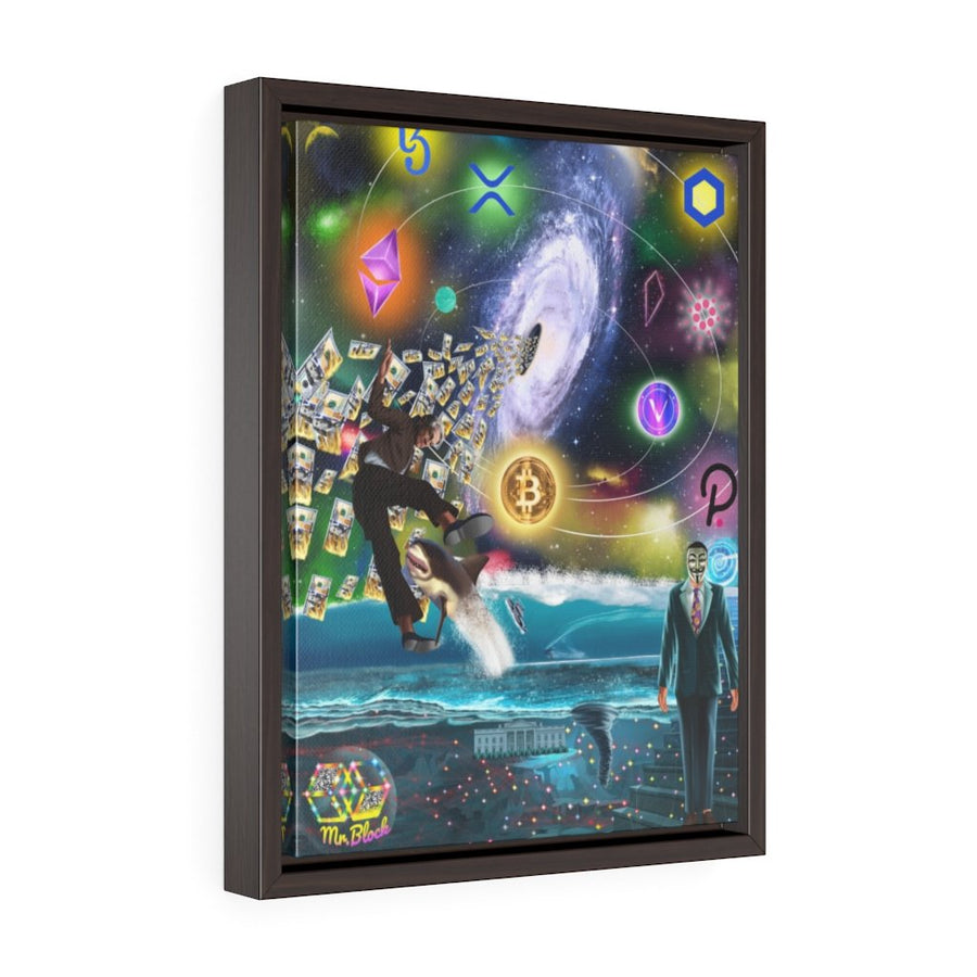 Crypto Black Hole (Blockchain, Powell, and Fiat) - Framed Wall ArtCanvas - Mr. Block Crypto Store