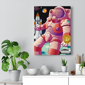 Elon Musk  Astronaut flaunting Bitcoin, SpaceX, Tesla-  The Real Satoshi - (Influencer Collection) Canvas Wall Art