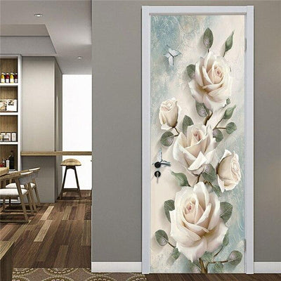 Stickers Porte Rose Blanche