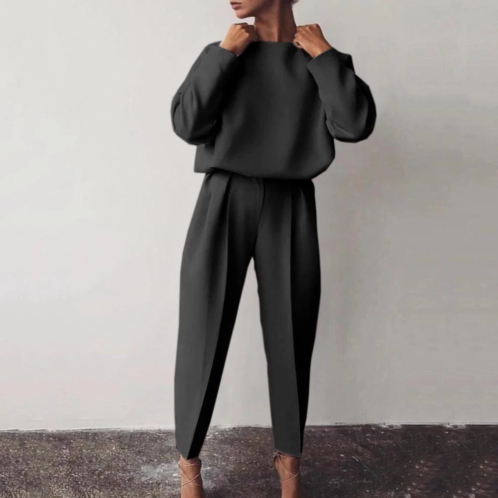 Marion Long Sleeve Plain Set - Black