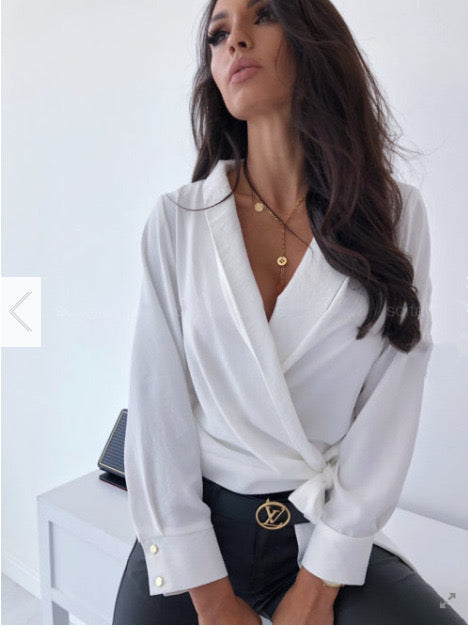Sexy V Neck office lady blouse