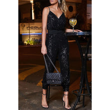 Load image into Gallery viewer, Anya stardust sequin jumpsuit - Black