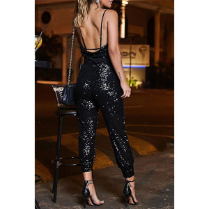 Anya stardust sequin jumpsuit - Black