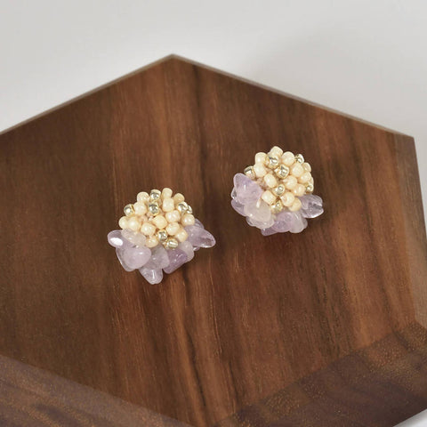 Priscilla Light Amethyst Chip Stud Earrings