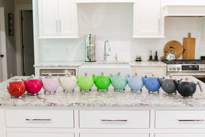 A variety of colors of the Bella Ronde double walled teapot!