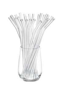 "Glass Straws 25 pcs 9"" Long Clear Bent"
