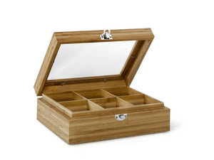 6 Compartment Tea Box with Window Bamboo