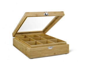 9 Compartment Tea Box with Window Bamboo