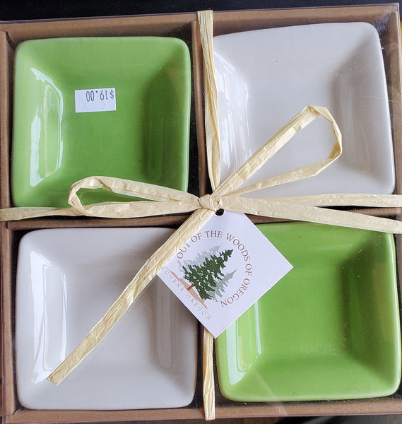 Small Square Bowls Light Green & White Set