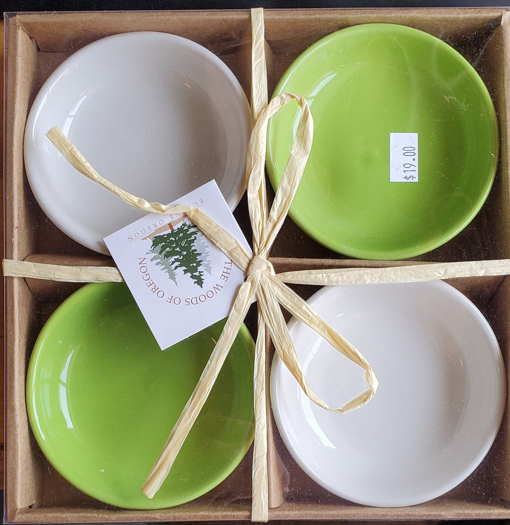 Small Round Bowls Light Green & White set