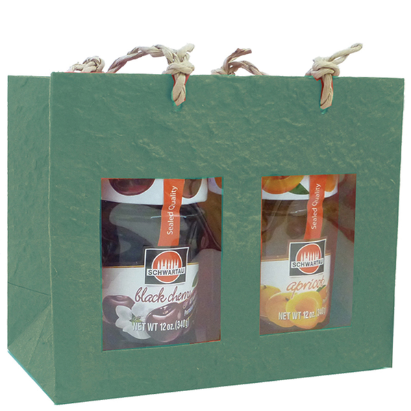 Gift Bag - Two Jar - Handmade Paper - Green