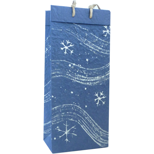 Christmas Gift Bag - Blue Snow Flurries - Double Bottle