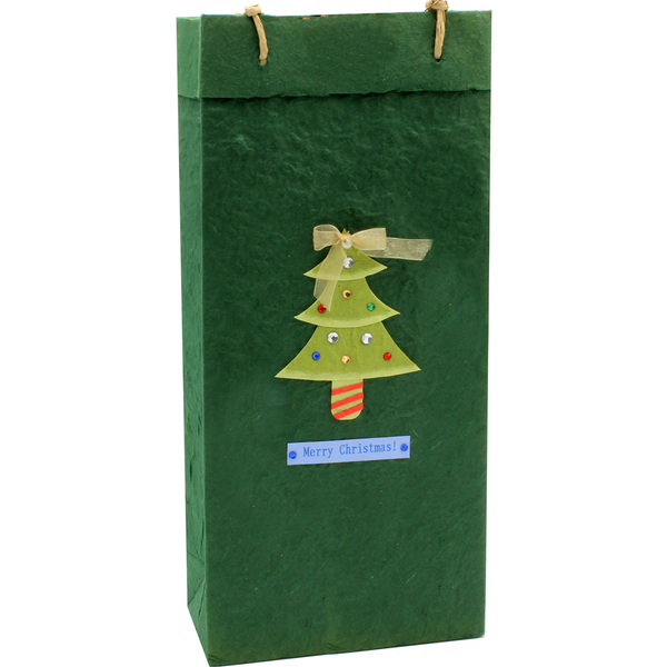 Christmas Gift Bag - Tinsel Tree - Double Bottle