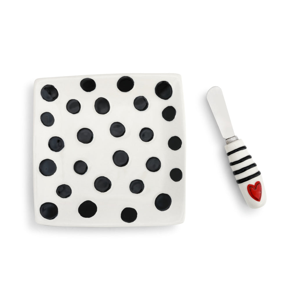 Black Dots Plate with Heart Spreader Set