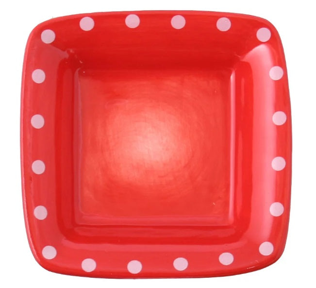 Square Dip Bowl - Red Dots