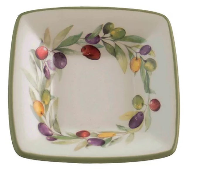 Square Dip Bowl - Olive Wreath