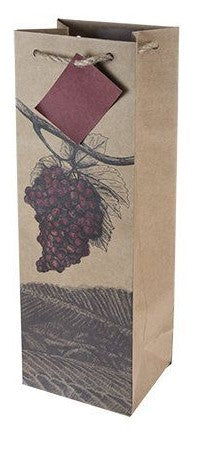 Illustrated grapes single bottle bag