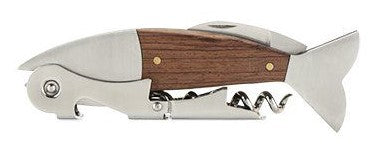 Wood and Stainless Steel Fish corkscrew