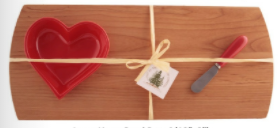 Large cheese board with large heart shaped bowl and spreader