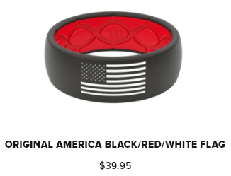 Groove Ring Hero American Black/ Red With White Flag