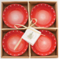 Small Round Bowls Red w/ Dots set of 4