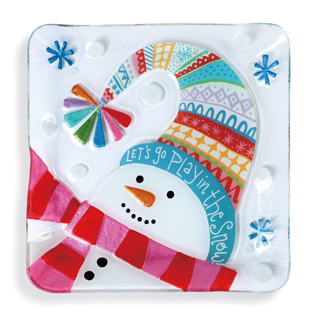 Let's Go Play Snowman Square Glass Plate