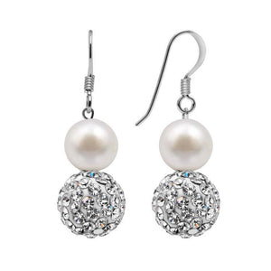 Silver Freshwater Pearl and Crystal Bead Drop Earrings