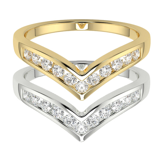 Wishbone Eternity or Solitaire Enhancer Quarter Carat Total Diamond Ring in Yellow or White Gold for Ladies