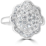one carat diamond ring - flower cluster of round and baguette cut diamonds