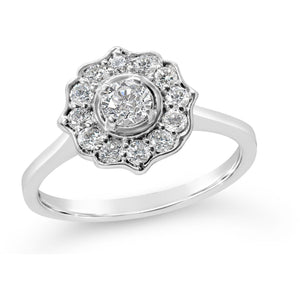 stunning diamond ring for women in white gold featuring 1/2 carat of diamonds