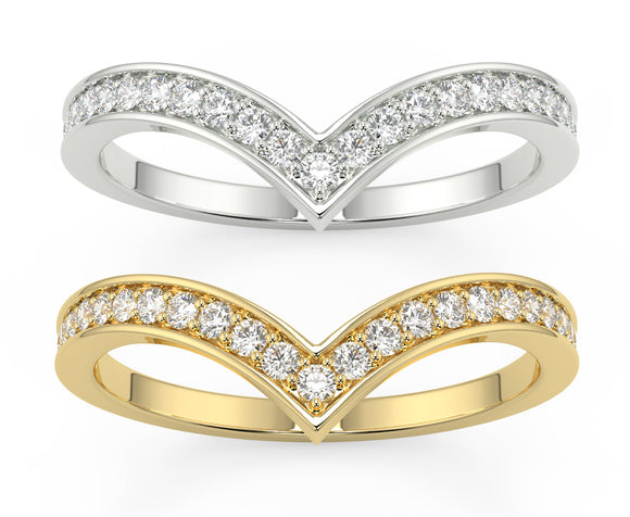 Eternity Ring - Diamond Set Wishbone Style Available as a Yellow Gold or White Ladies Band