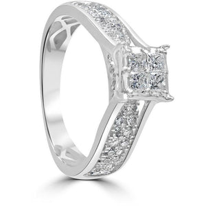 One Carat diamond ring - princess cut square cluster with diamond set shoulders