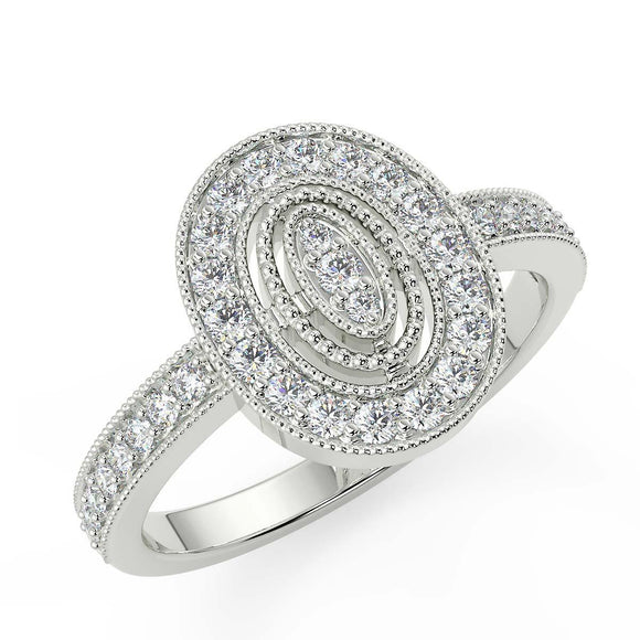Oval shaped white gold diamond ring for women