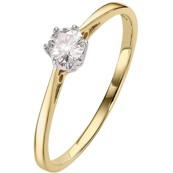 YELLOW GOLD DIAMOND ENGAGEMENT RING WITH 1/4CT SOLITAIRE DIAMOND - G&S Diamonds