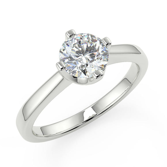 White gold diamond single stone ring for women in choice of diamond sizes with 4 claw setting