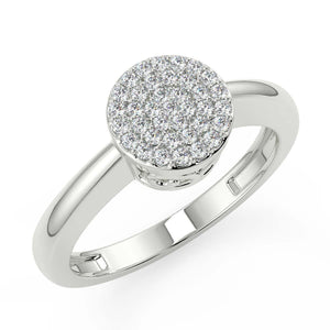 Womens Diamond Ring With Cluster of white natural diamonds crafted in hallmarked white gold