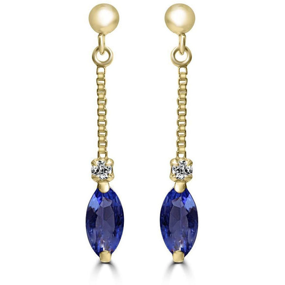 Tanzanite and Diamond drop earrings in 18ct Yellow Gold