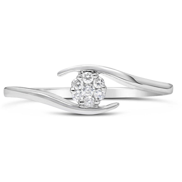 WOMENS WHITE GOLD CROSS OVER DIAMOND RING WITH NATURAL SOLITAIRE DIAMOND CLUSTER - G&S Diamonds