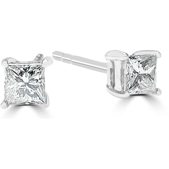 Princess Cut Diamond Earrings with 1/3 ct Premium Quality Square Shape Diamonds