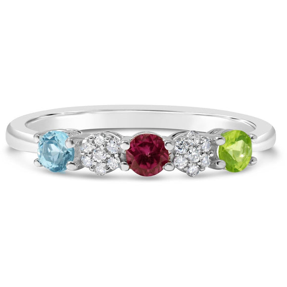 Multi Gem Stone & Diamonds Eternity Ring In 9ct White Gold