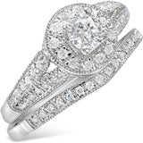 Bridal Set Of Engagement and Wedding Rings with over 50 individual diamonds