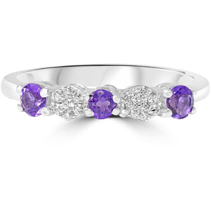 Diamond With Amethyst Eternity Ring in White Gold