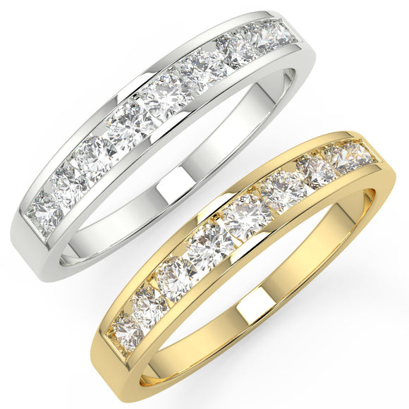 0.50ct Diamond Eternity Band in Yellow or White Gold Channel Set