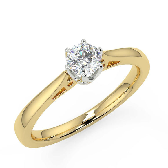 premium 1/6 carat diamond solitaire yellow gold engagement ring