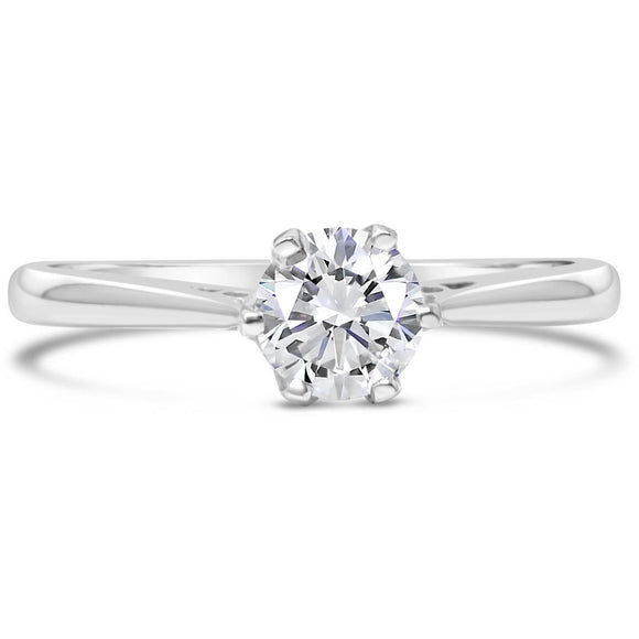 premium 0.50 carat (1/2ct) diamond solitaire white gold engagement ring