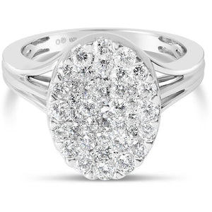 5 CARAT LOOK OVAL DIAMOND CLUSTER WITH OVER 1 CARAT OF LARGE NATURAL DIAMONDS - G&S Diamonds