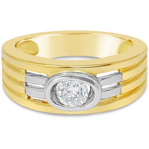 YELLOW GOLD WIDE BAND WITH 1/3CT NATURAL EXCELLENT CUT DIAMOND - G&S Diamonds