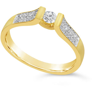 wide band solitaire ring with stone set shoulders - yellow gold ring