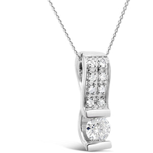 DIAMOND PENDANT WITH SOLITAIRE STONE AND PAVE SET BAIL - G&S Diamonds